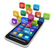 13193009-touchscreen-smartphone-with-cloud-of-colorful-application-icons-isolated-on-white-background-desig