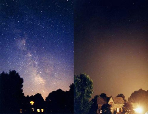 The night sky- Without and With Pollution