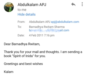 Dr. Kalam's reply to my email